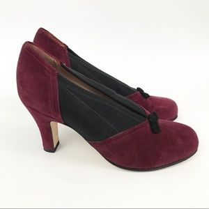Anyi Lu Italy 37.5 suede Heels red black